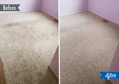 dirty carpet before and after cleaning