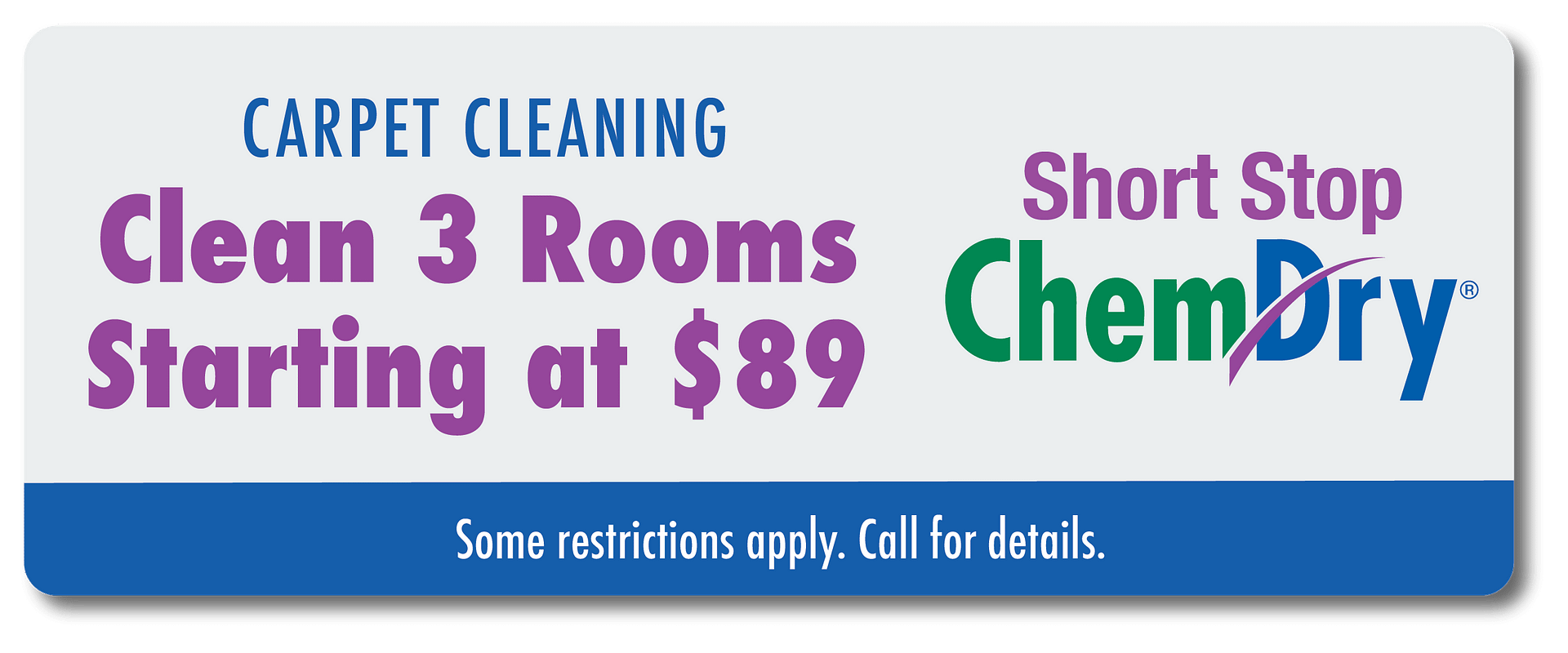 clean 3 rooms carpet for $89